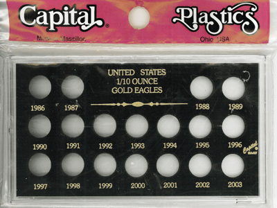 U.S. 1/10 Ounce Gold Eagles 1986-2003, , Capital Plastics, Black
