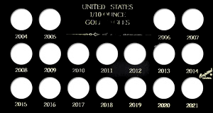 U.S. 1/10 Ounce Gold Eagles 2004-2021, Capital Plastics, Black