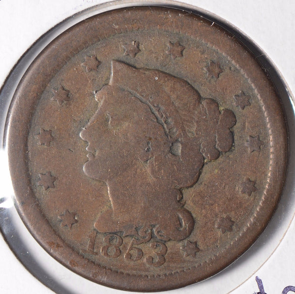 1853 Braided Hair Cent Good Condition