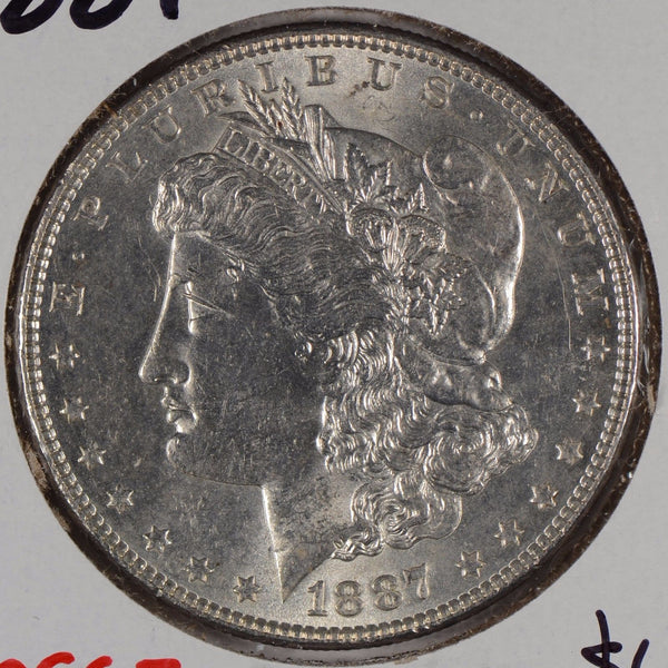 1887 $1 Morgan Silver Dollar Mint State #166489