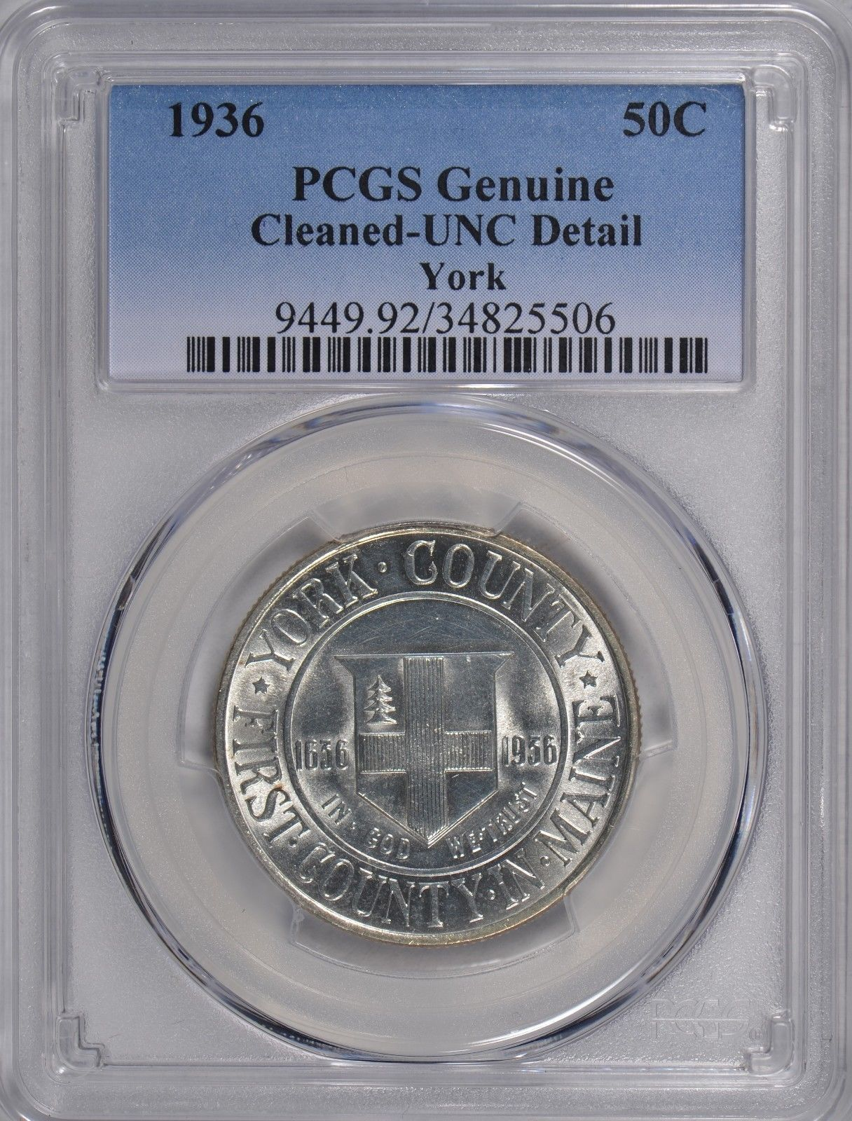1936 York Silver Commemorative Half Dollar PCGS Genuine Cleaned