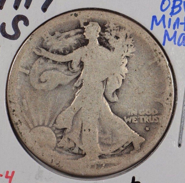 1917-S Walking Liberty Half Dollar Obverse MM Good Condition #160321