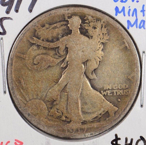 1917-S Walking Liberty Half Dollar Obverse MM Very Good #166885