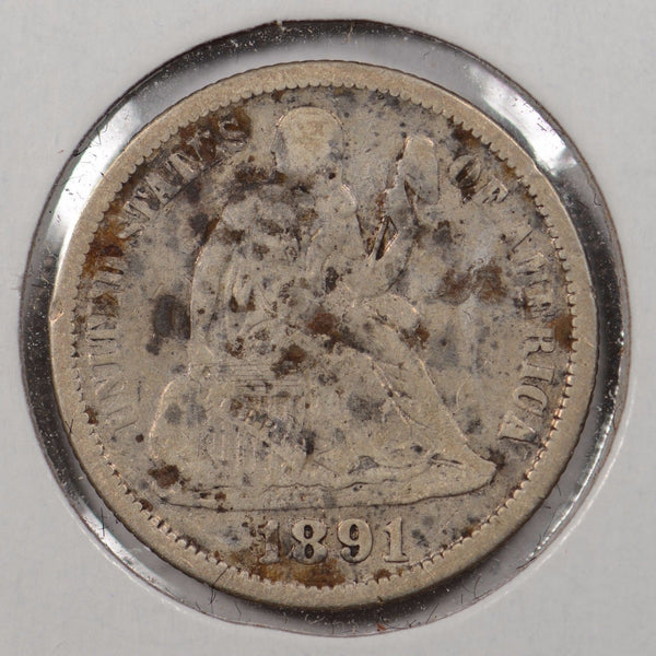 1891 Liberty Seated Dime Very Good