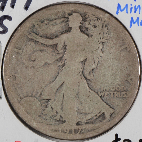 1917-S Walking Liberty Half Dollar REV MM Very Good