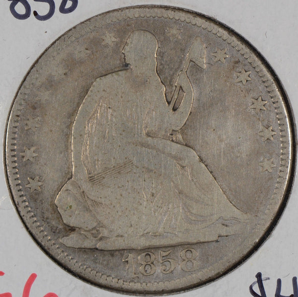 1858 Liberty Seated Half Dollar Good Condition #161989