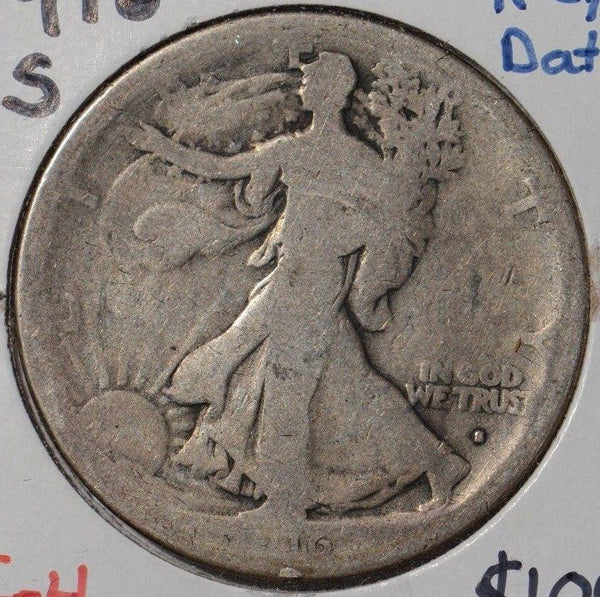 1916-S Walking Liberty Half Dollar Good Condition #132938