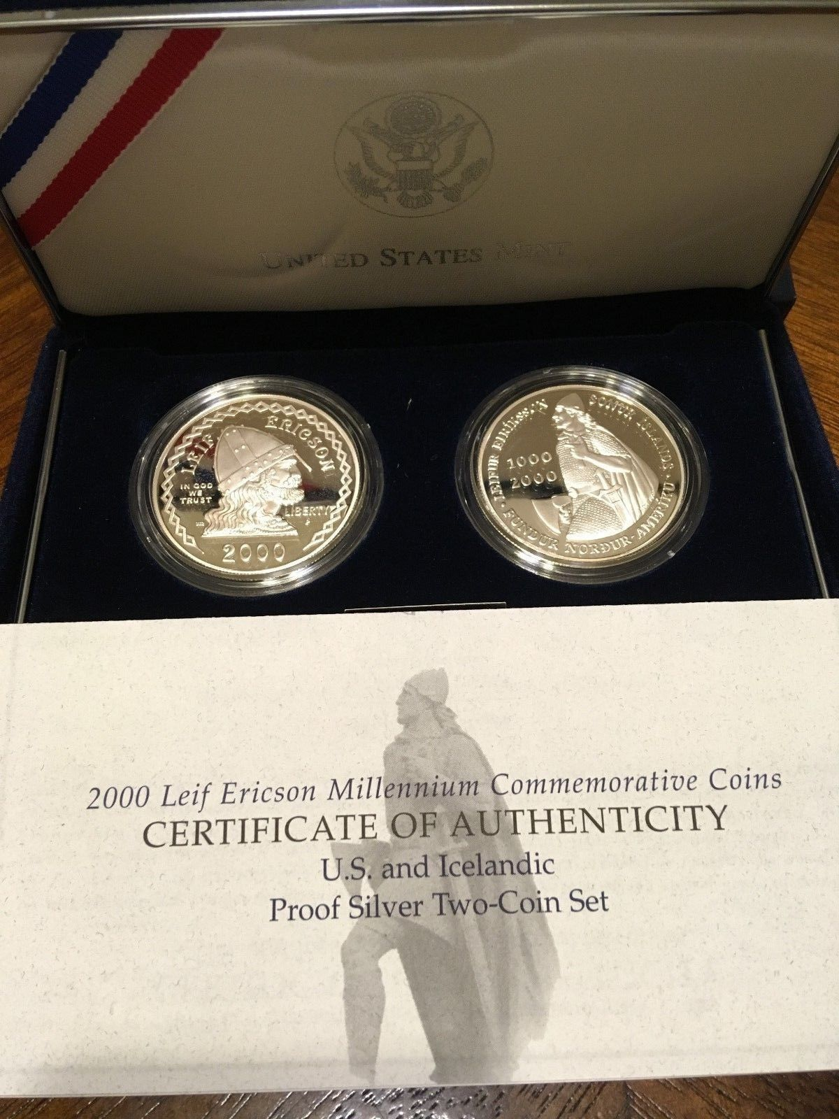 2000 Leif Ericson Millennium Commemorative 2-Coin Silver Proof Set