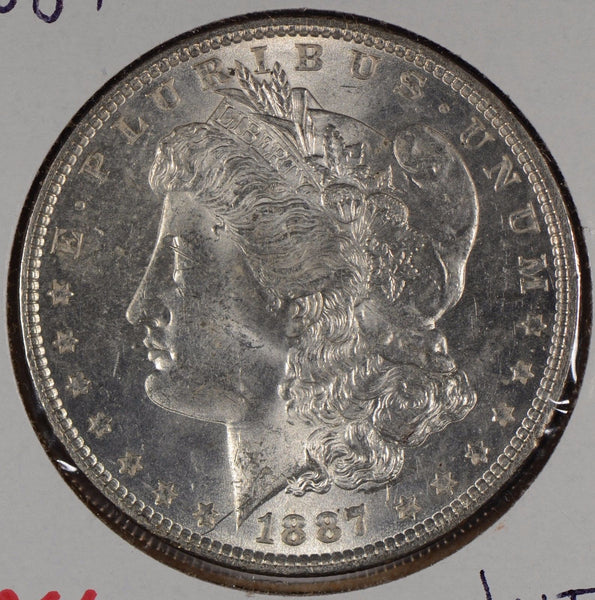 1887 $1 Morgan Silver Dollar Mint State #171366