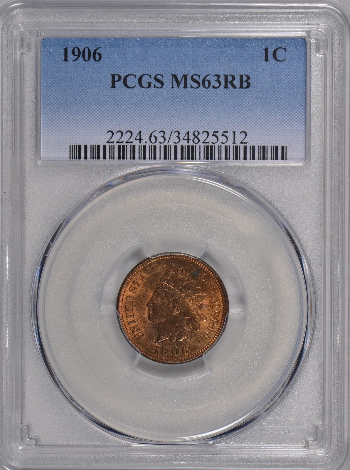 1906 Indian Cent PCGS MS63RB