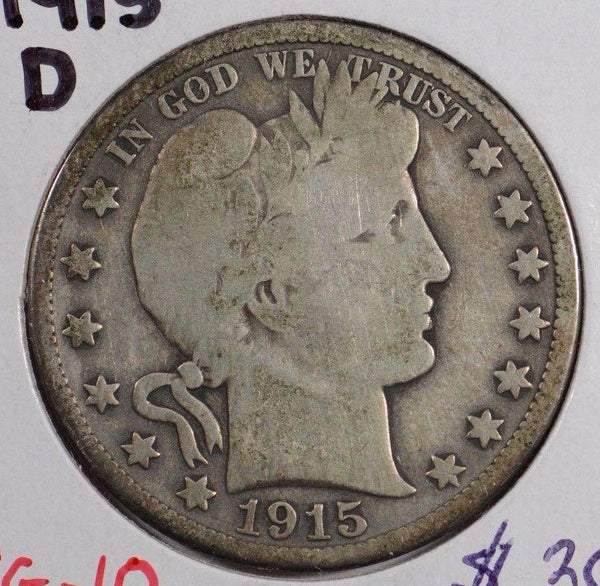 1915-D  Barber Half Dollar Very Good Condition #144086