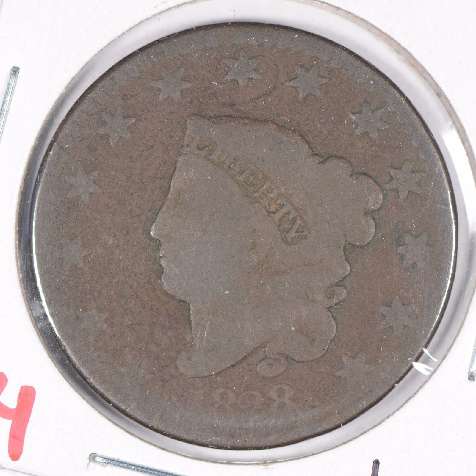 1828 Coronet Head Large Cent, Large Narrow Date, Good Condition
