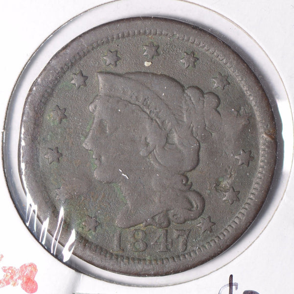 1847 Braided Hair Cent Very Good Condition