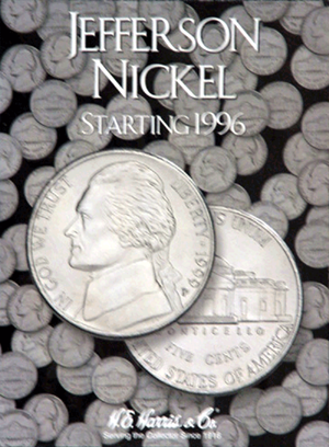 Jefferson Nickels Harris Folder #3 1996-2009 with holes for new nickels