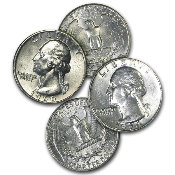 90% Silver Quarters, $50 Face-Value Bag, 200 Coins, Average Circulated