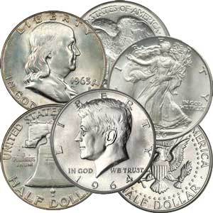 90% Silver Half Dollars, $50 Face-Value Bag, 100 Coins, Average Circulated