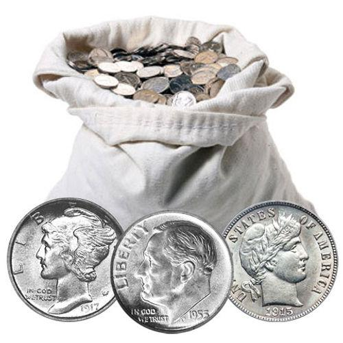 90% Silver Dimes Average Circ. $50 Face-Value Bag
