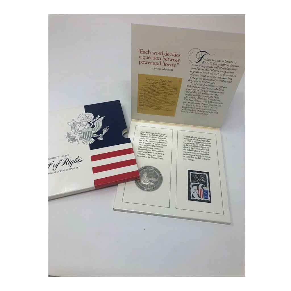 1993 Bill of Rights Silver Half Dollar Coin and Stamp Set Commemorative Proof