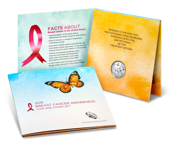 2018 Breast Cancer Awareness Coin and Stamp Set Proof