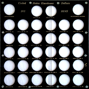 Complete Eisenhower Dollar Set (Two Reverses), Capital Plastics, Black