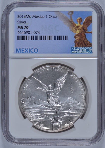 2013Mo 1 onza Mexican Silver NGC MS-70