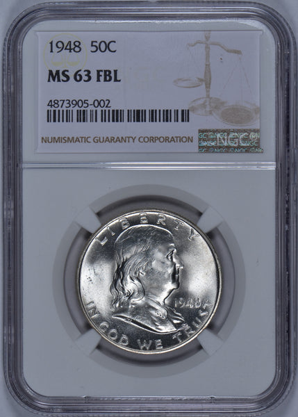 1948 Franklin Half Dollar NGC MS-63 FBL