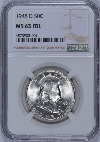 1948-D Franklin Half Dollar NGC MS-63 FBL