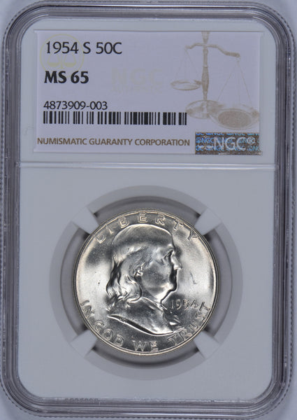 1954 S Franklin Half Dollar NGC MS-65
