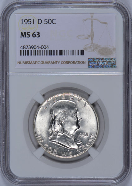 1951-D Franklin Half Dollar NGC MS-63