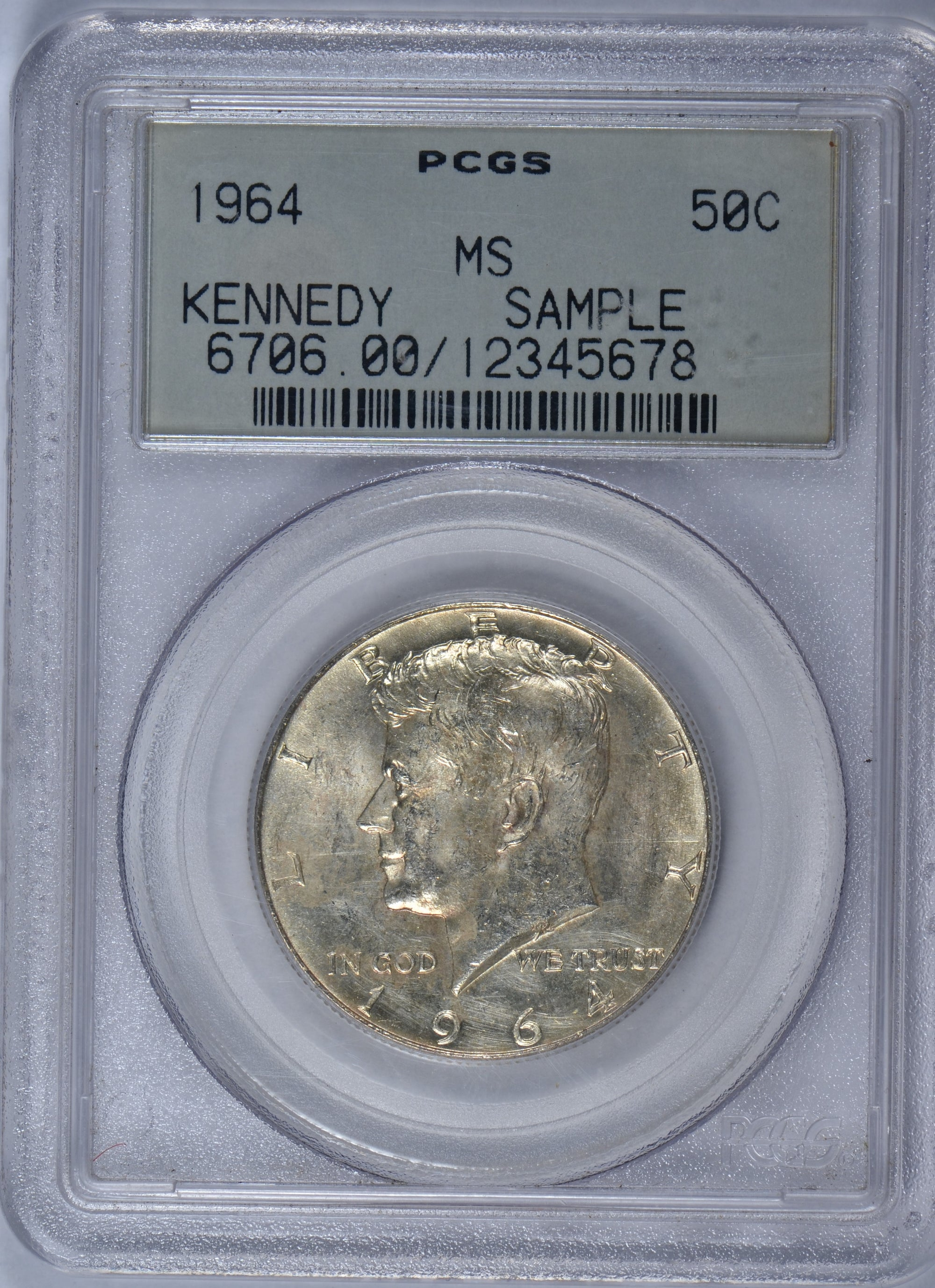1964 Kennedy Half Dollar Mint State PCGS Sample