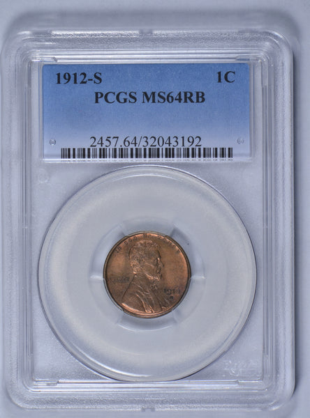 1912-S Lincoln Wheat Cent PCGS MS64RB