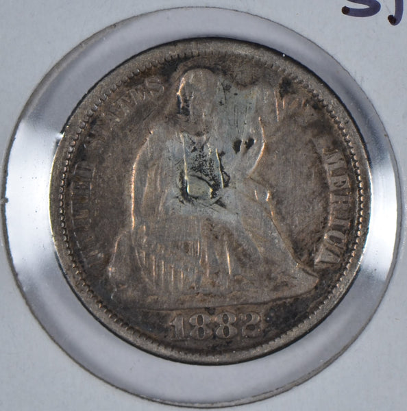 1882 Seated Liberty Dime, Reverse Counter Stamp