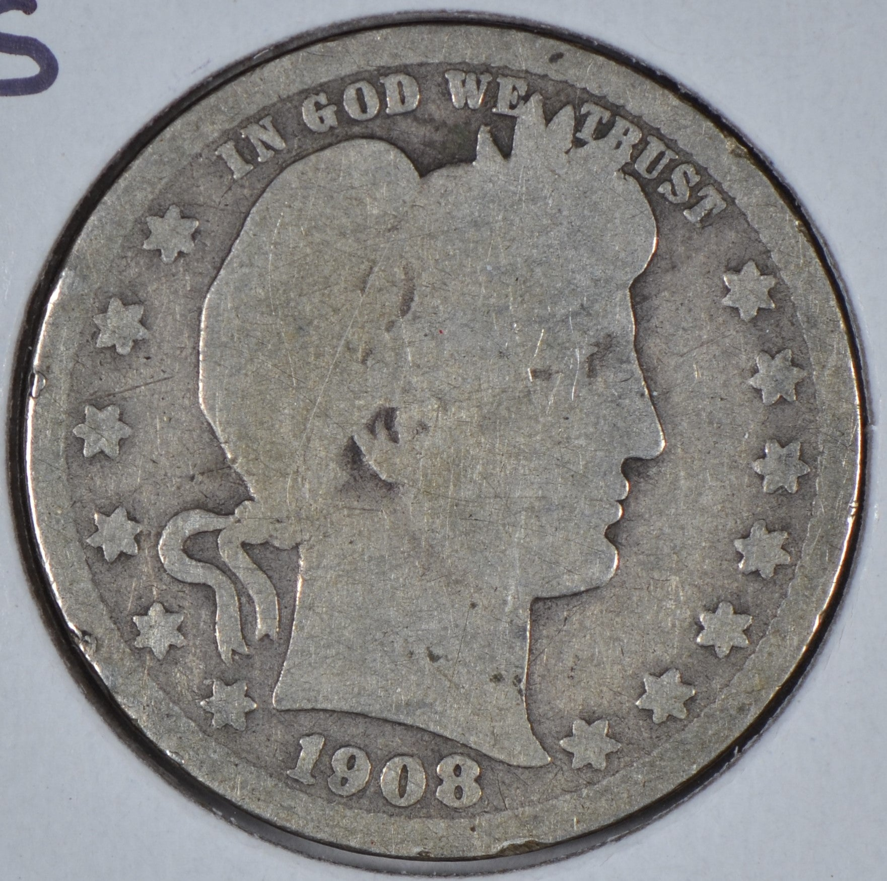 1908-S Barber Quarter Good