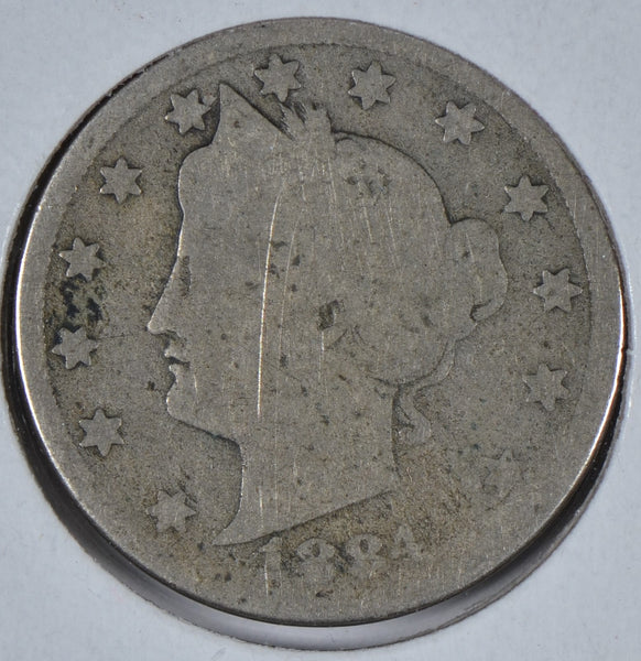 1884 Liberty Head V Nickel About Good Condition # 195912