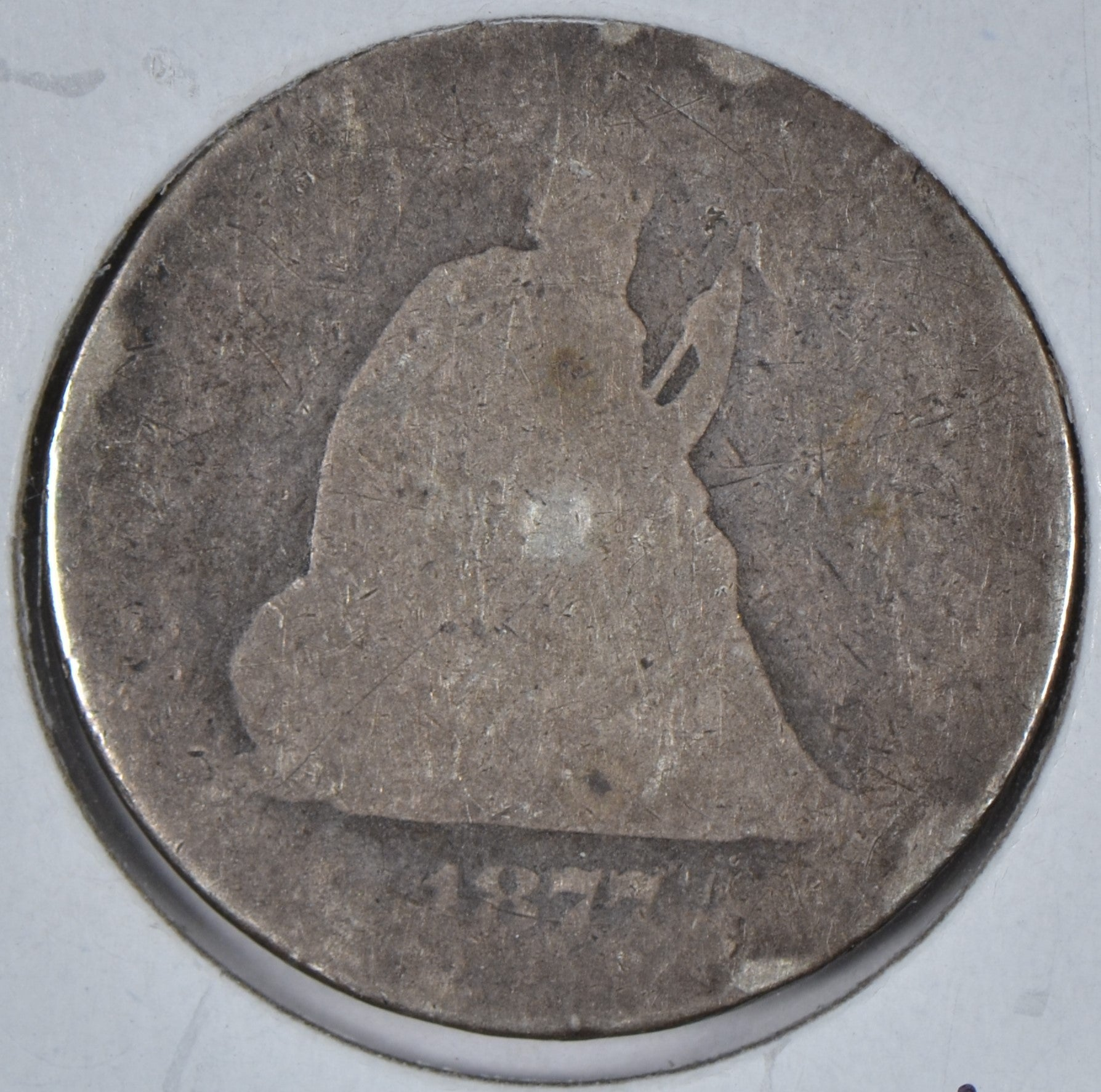 1877 Seated Liberty Quarter About Good