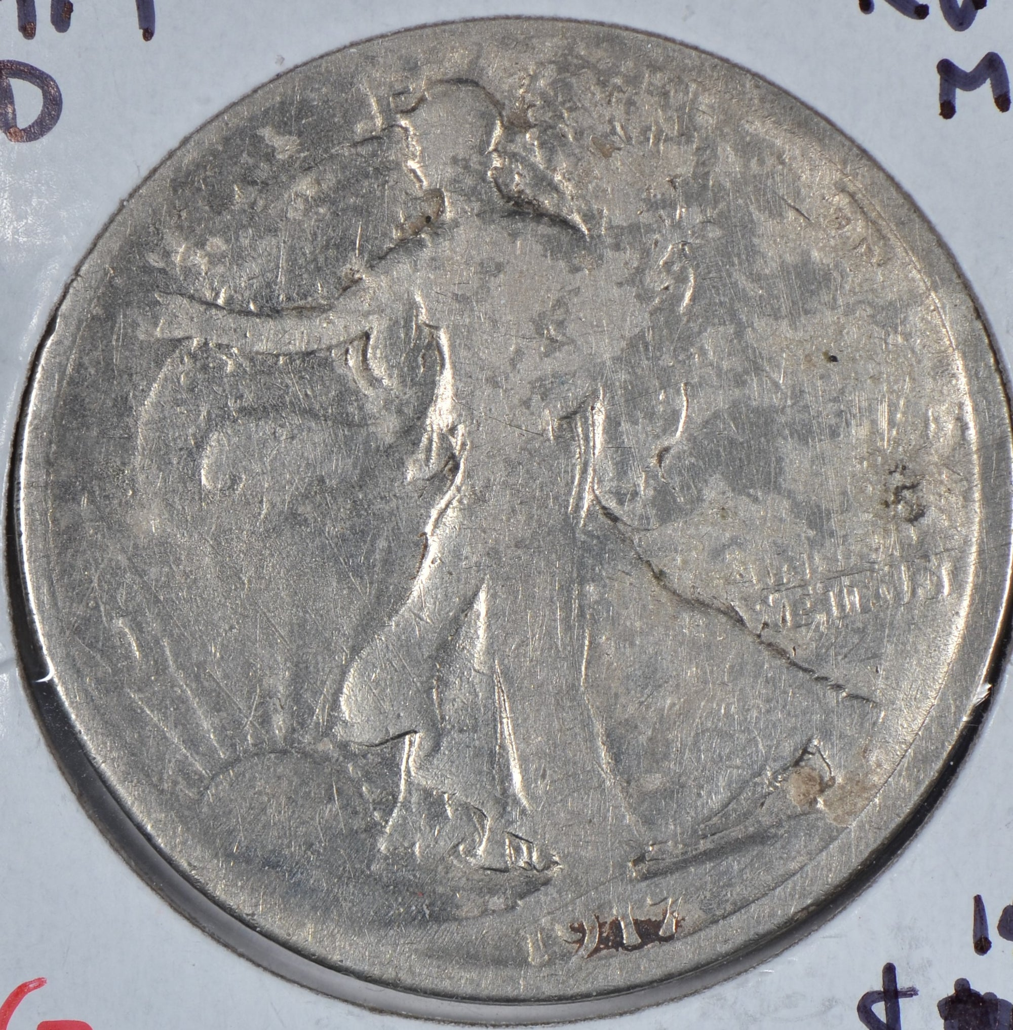 1917-D Walking Liberty Half Dollar, Reverse Mint Mark, Good
