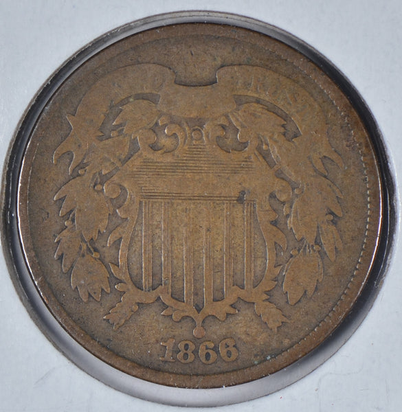 1866 Two Cent Piece Very Good Condition #195643