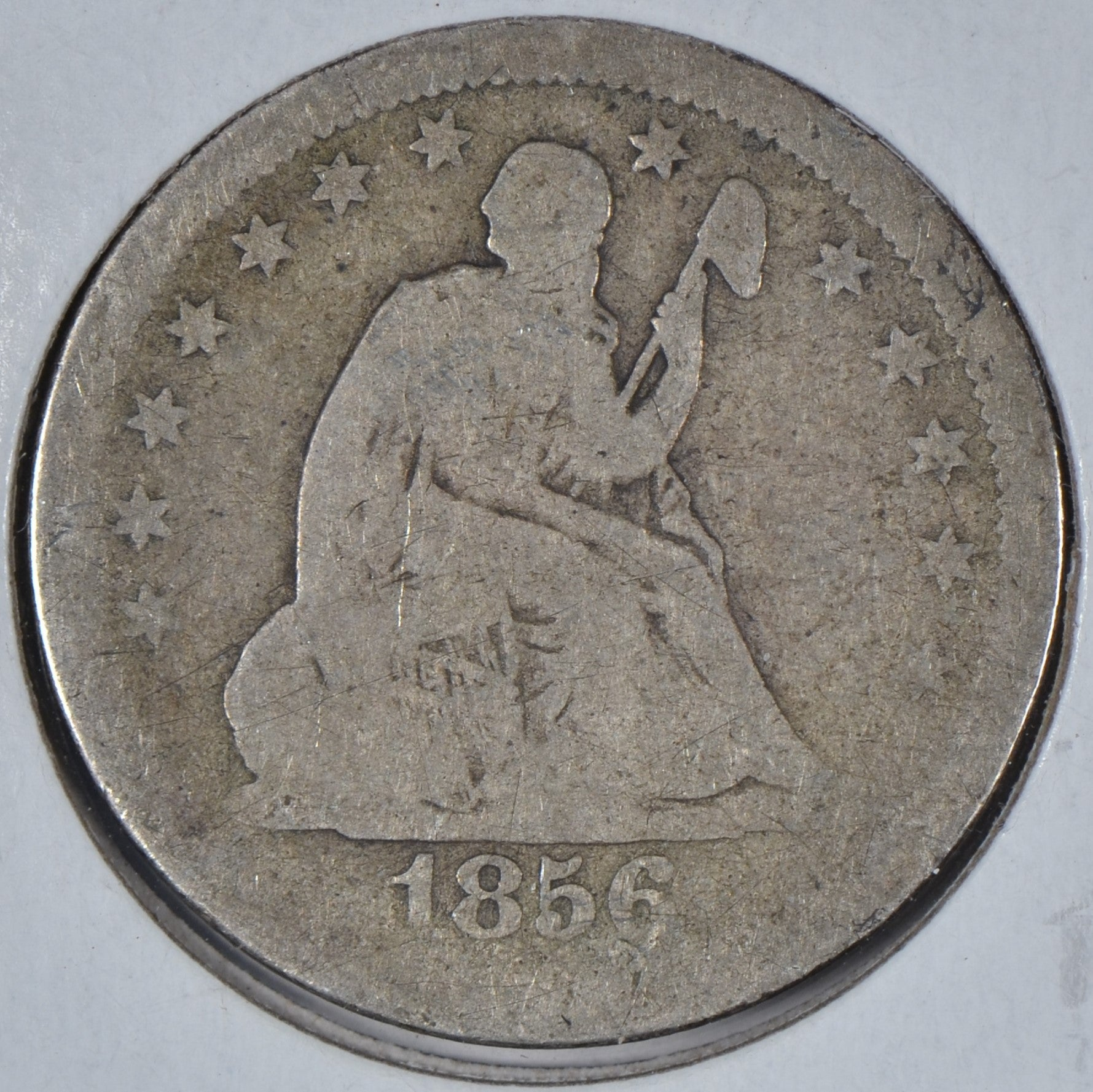 1856 Seated Liberty Quarter About Good
