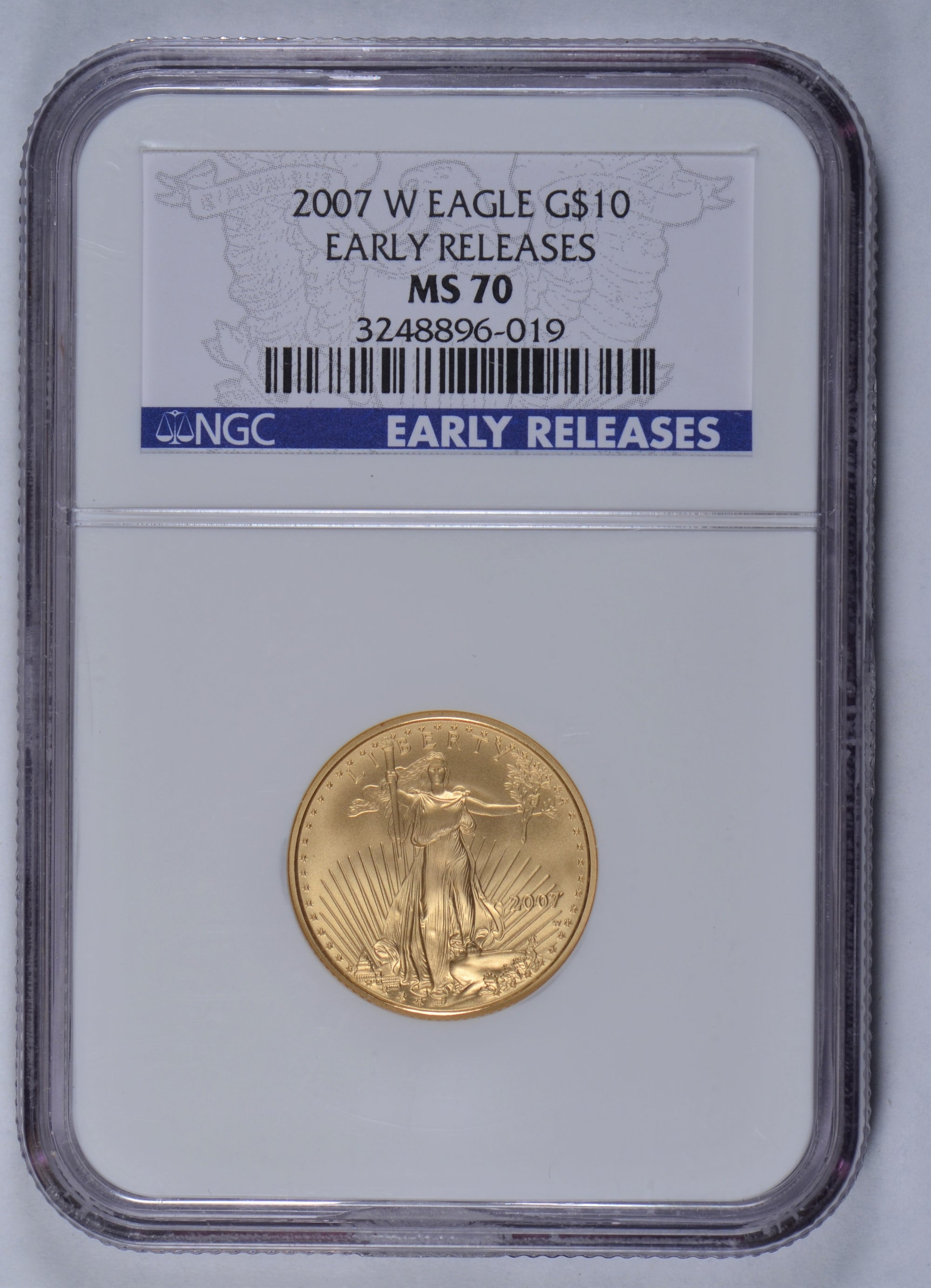 2007-W 1/4 oz American Gold Eagle NGC MS70