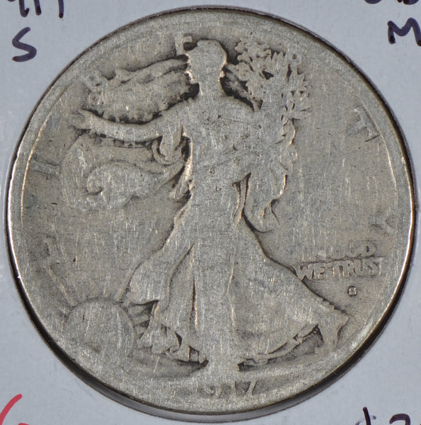 1917-S Walking Liberty Half Dollar, Obverse Mint Mark, Good