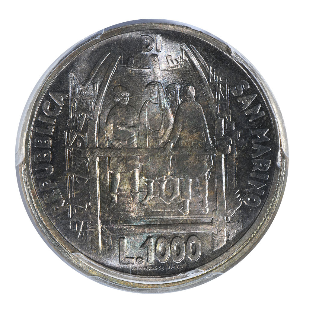 1977 1000 Lira San Marino Birth of Bunelleschi PCGS MS68