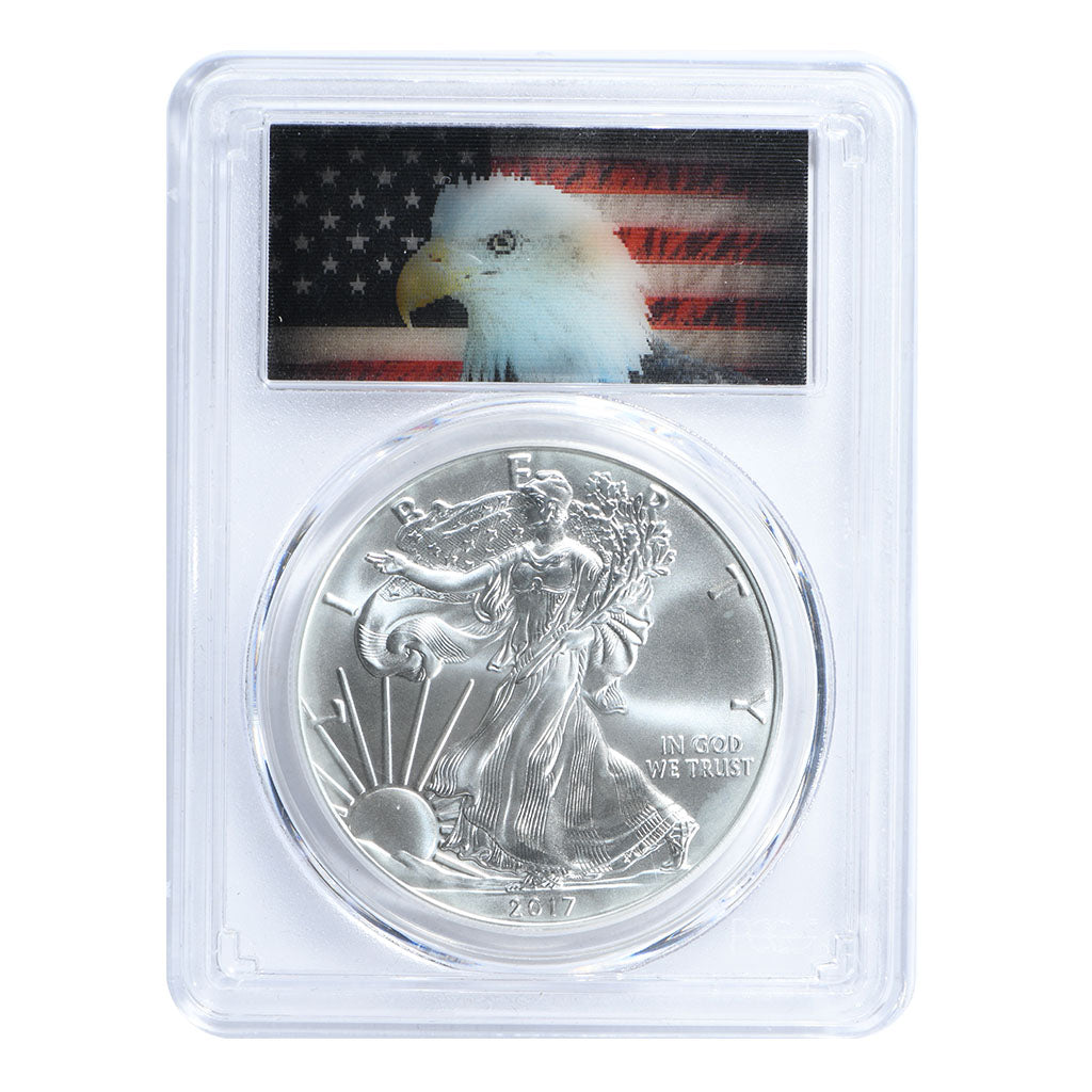 2017 1 oz American Silver Eagle PCGS MS70 Lenticular Hologram Flag Label