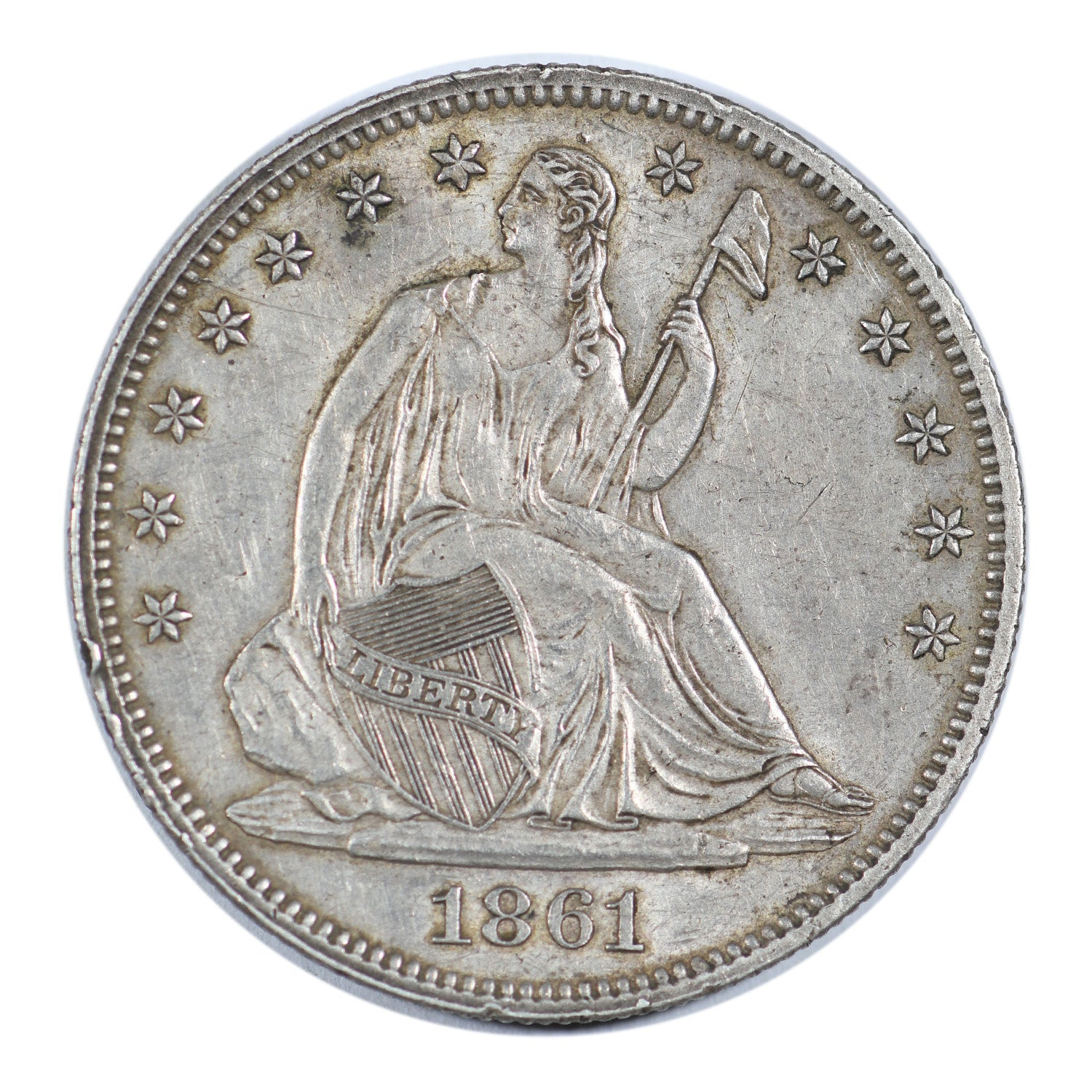 1861 Seated Liberty Half Dollar Extra Fine Condition