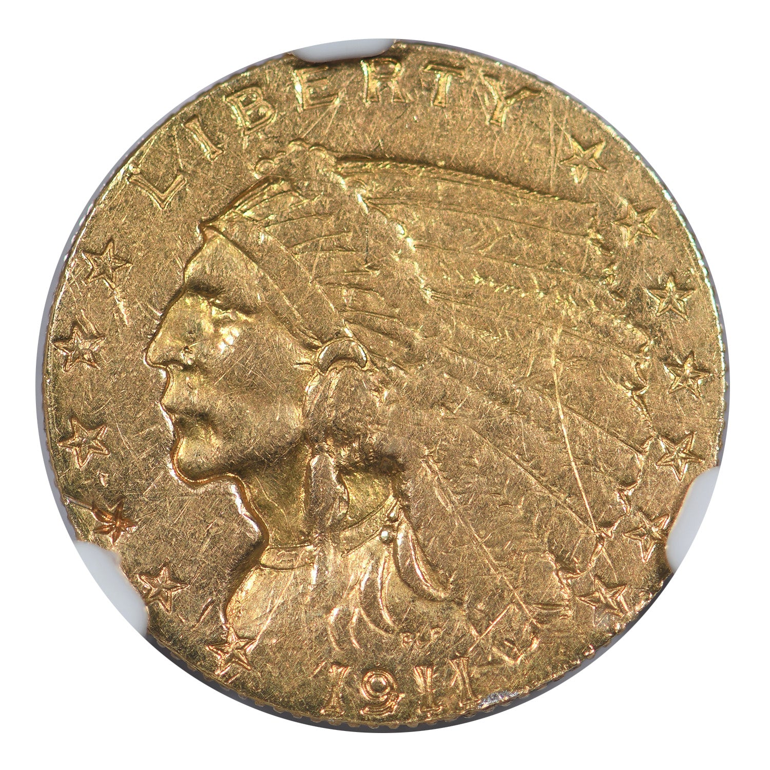 1911-D $2.50 Gold Indian Head Weak D NGC AU Details
