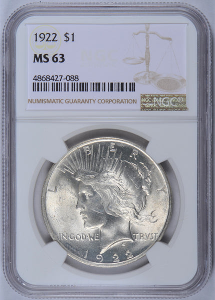 1922 Peace Dollar NGC MS-63