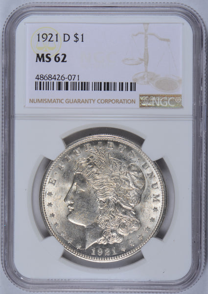 1921-D Morgan Dollar NGC MS-62
