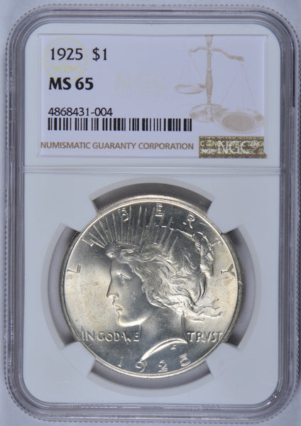 1925 Peace Dollar NGC MS65