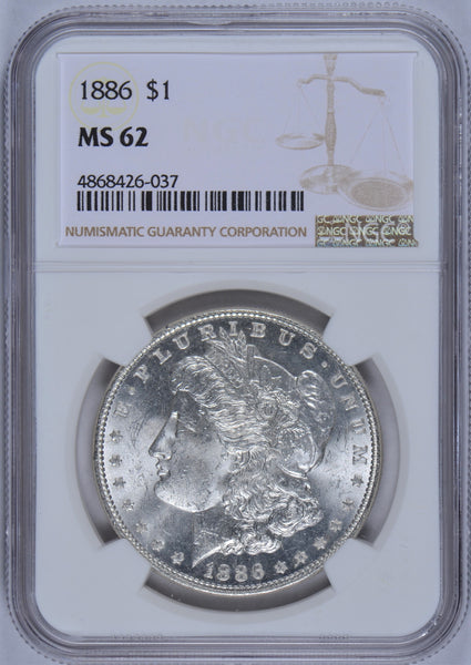 1886 Morgan Dollar NGC MS-62