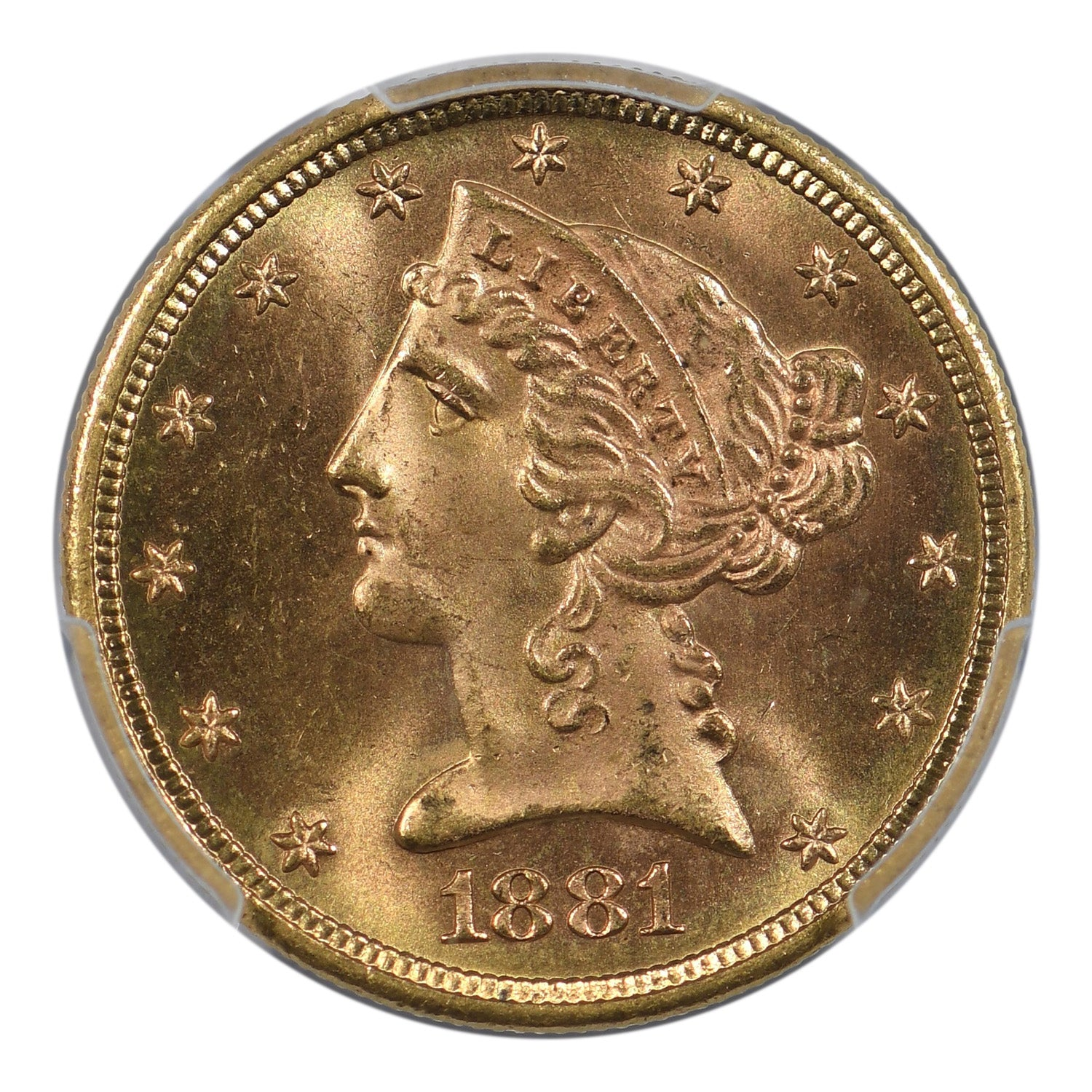 1881-S $5 Gold Liberty Half Eagle PCGS MS65