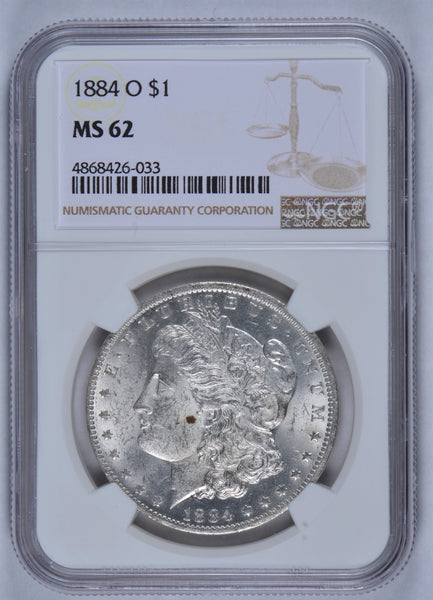 1884 O Morgan Dollar NGC MS62